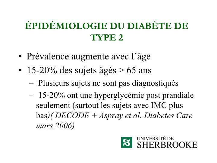 ÉPIDÉMIOLOGIE DU DIABÈTE DE TYPE 2