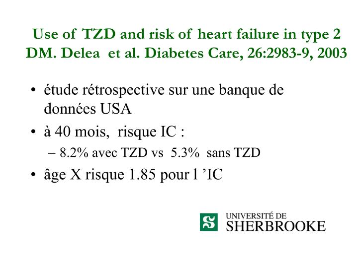 Use of TZD and risk of heart failure in type 2 DM. Delea  et al. Diabetes Care, 26:2983-9, 2003