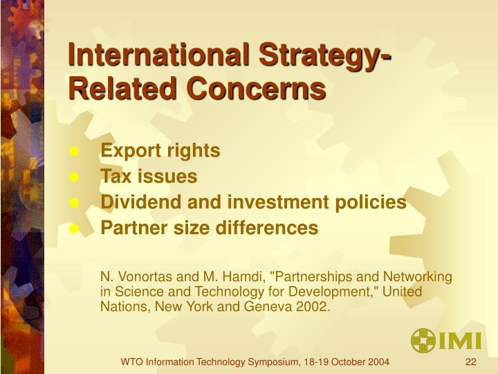 International Strategy-Related Concerns