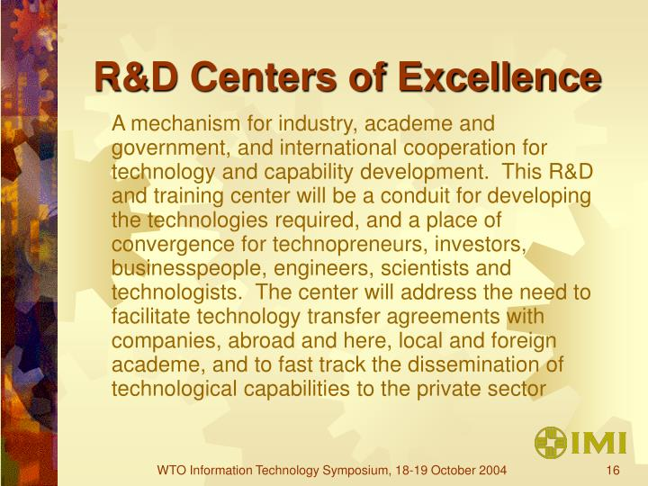 R&D Centers of Excellence