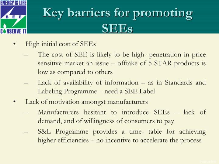 Key barriers for promoting SEEs