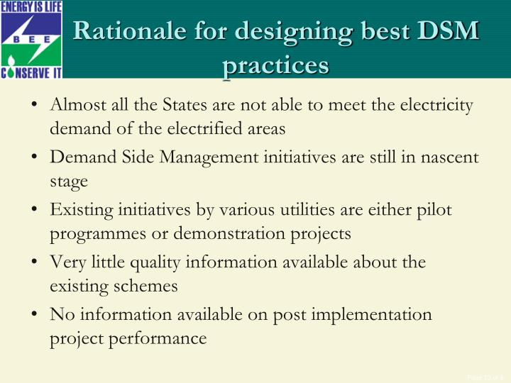 Rationale for designing best DSM practices