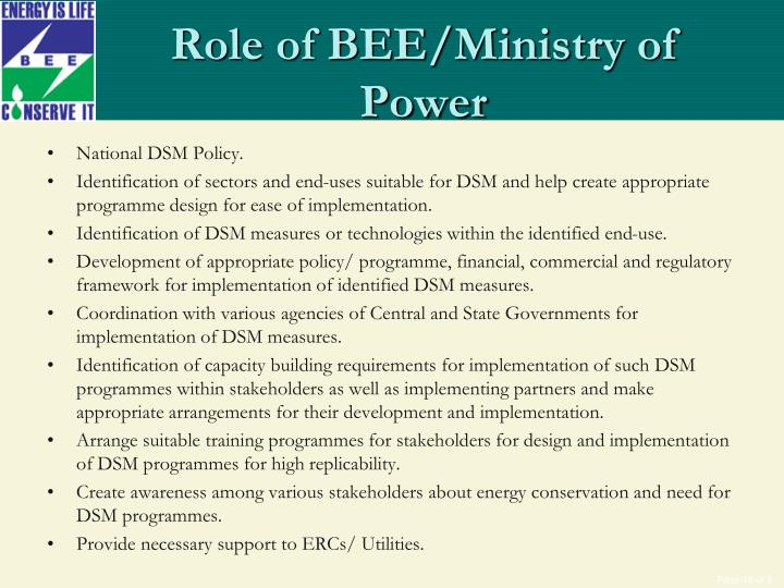 Role of BEE/Ministry of Power