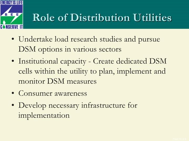 Role of Distribution Utilities