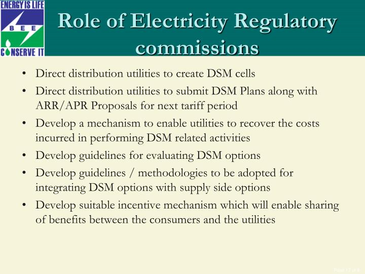 Role of Electricity Regulatory commissions