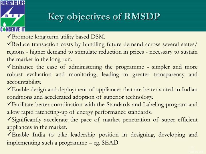 Key objectives of RMSDP