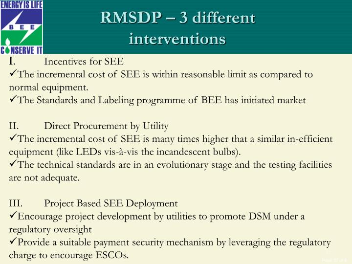 RMSDP – 3 different interventions