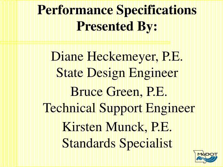 Performance Specifications
