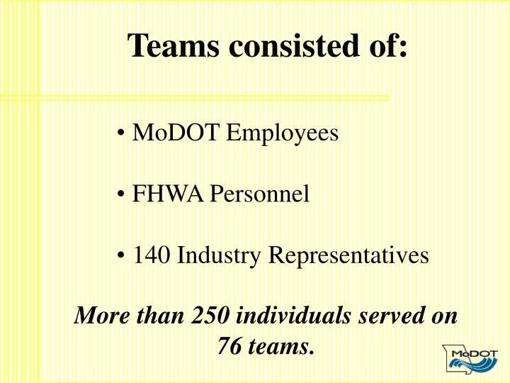 Teams consisted of: