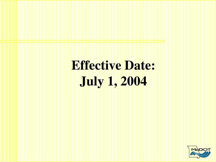 Effective Date: