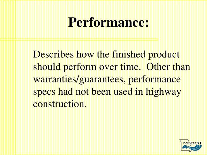 Performance:
