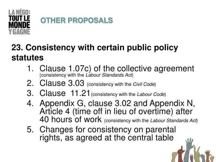 23. Consistency with certain public policy statutes