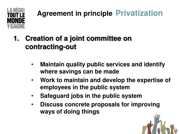 Agreement in principle privatization