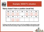 example nancy s situation