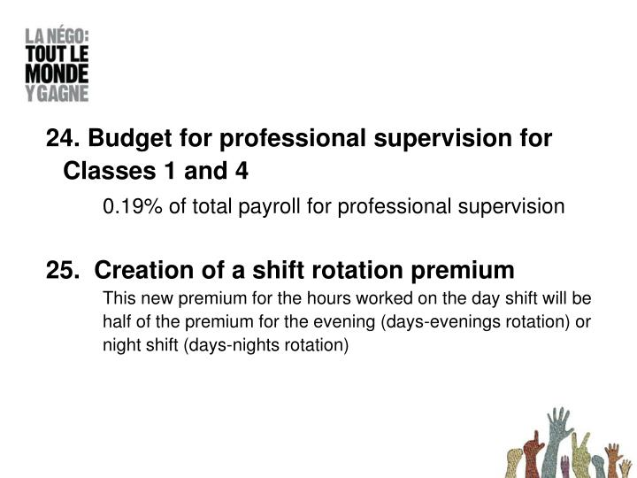 24. Budget for professional supervision for Classes 1 and 4