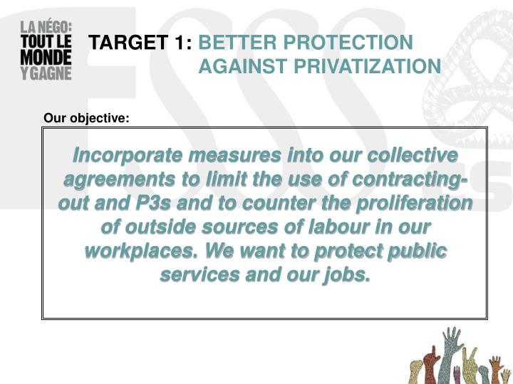Target 1 better protection against privatization