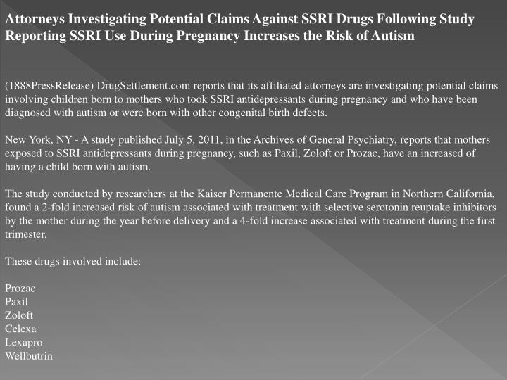Attorneys Investigating Potential Claims Against SSRI Drugs Following Study Reporting SSRI Use Durin...