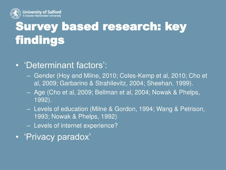 Survey based research: key findings