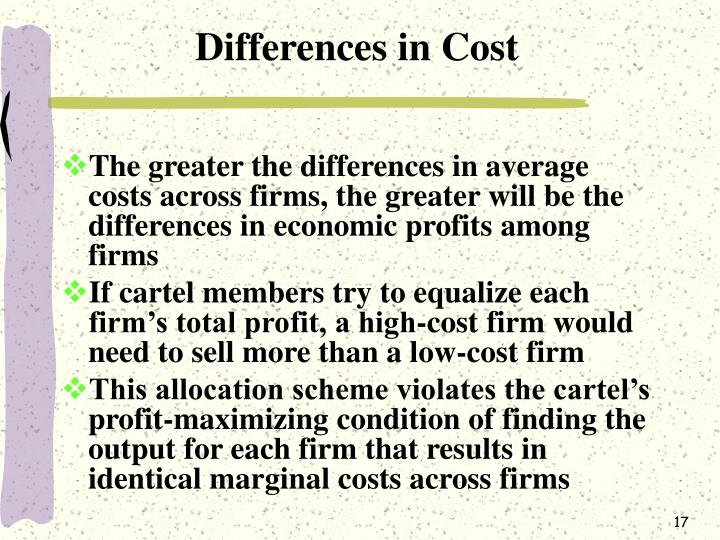 Differences in Cost