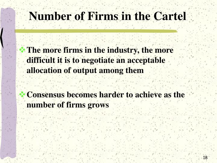 Number of Firms in the Cartel