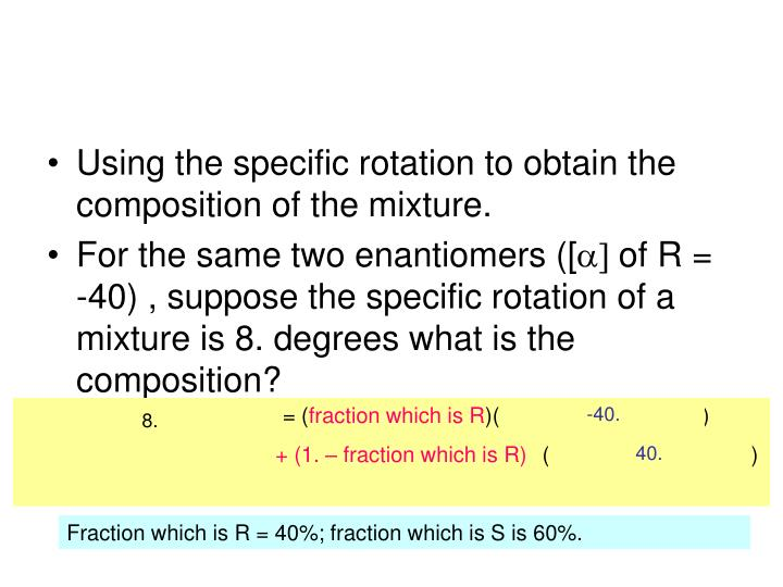 Using the specific rotation to obtain the composition of the mixture.