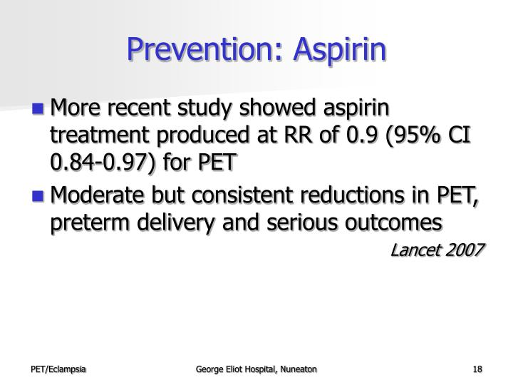 Prevention: Aspirin