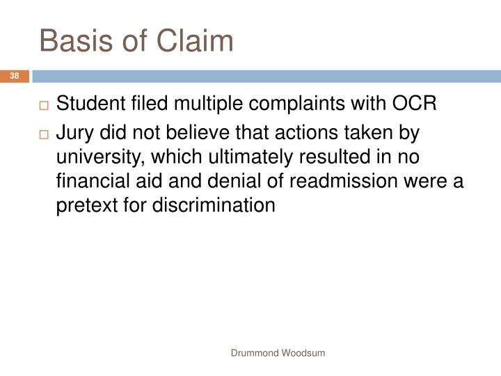 Basis of Claim