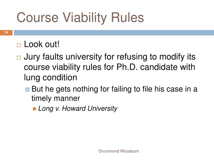 Course Viability Rules