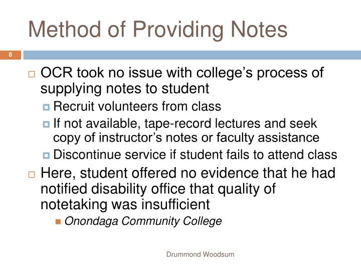 Method of Providing Notes