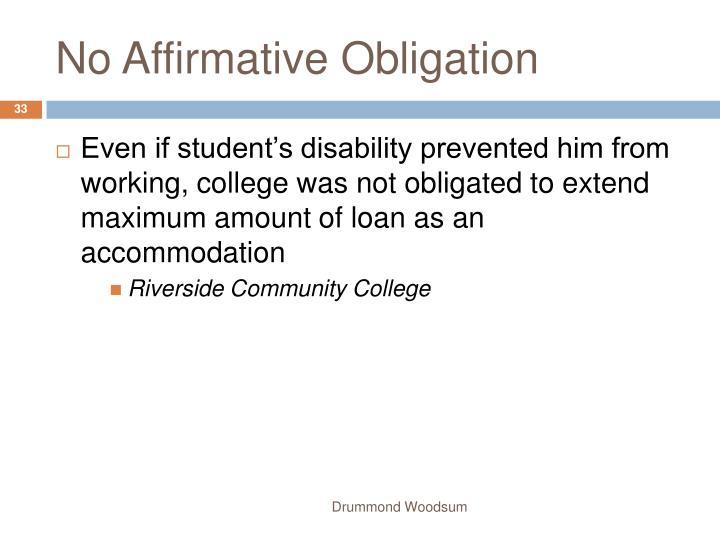No Affirmative Obligation
