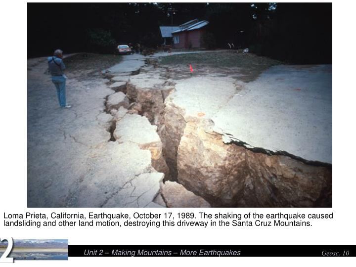 Loma Prieta, California, Earthquake, October 17, 1989. The shaking of the earthquake caused landsliding and other land motion, destroying this driveway in the Santa Cruz Mountains.