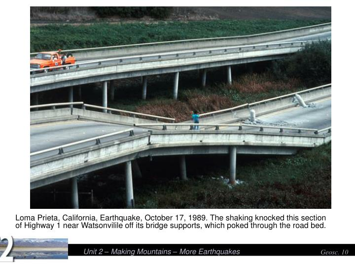 Loma Prieta, California, Earthquake, October 17, 1989. The shaking knocked this section of Highway 1 near Watsonvilile off its bridge supports, which poked through the road bed.
