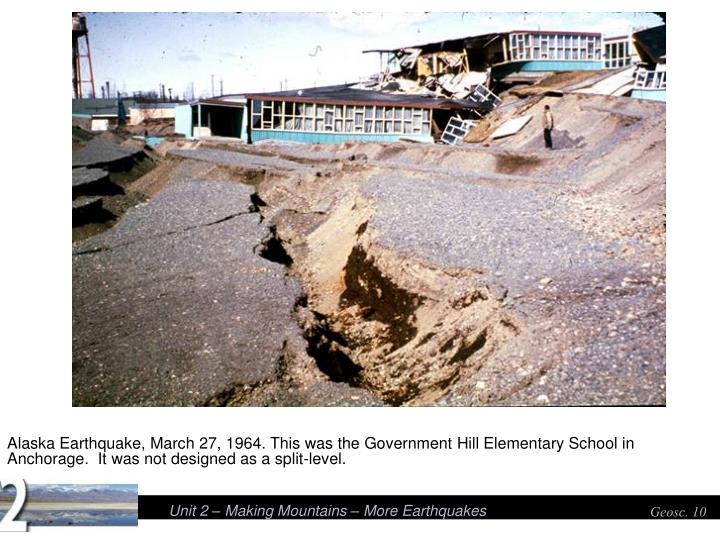 Alaska Earthquake, March 27, 1964. This was the Government Hill Elementary School in Anchorage.  It was not designed as a split-level.