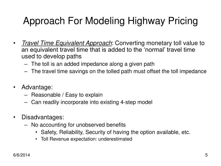 Approach For Modeling Highway Pricing
