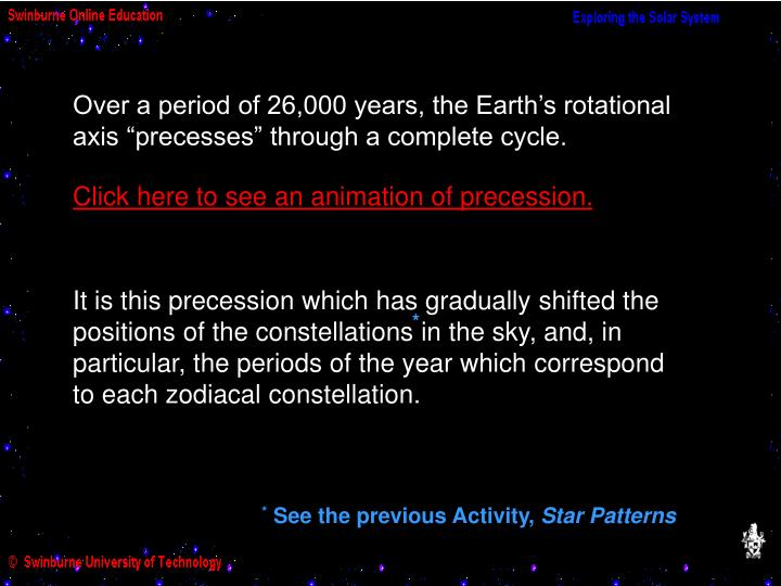 "Over a period of 26,000 years, the Earth's rotational axis ""precesses"" through a complete cycle."