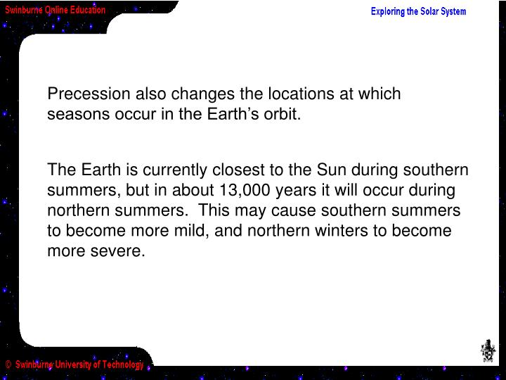 Precession also changes the locations at which