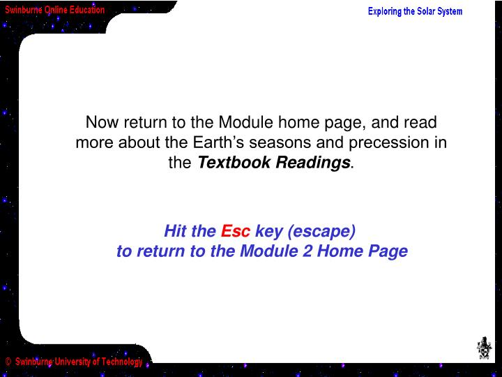 Now return to the Module home page, and read