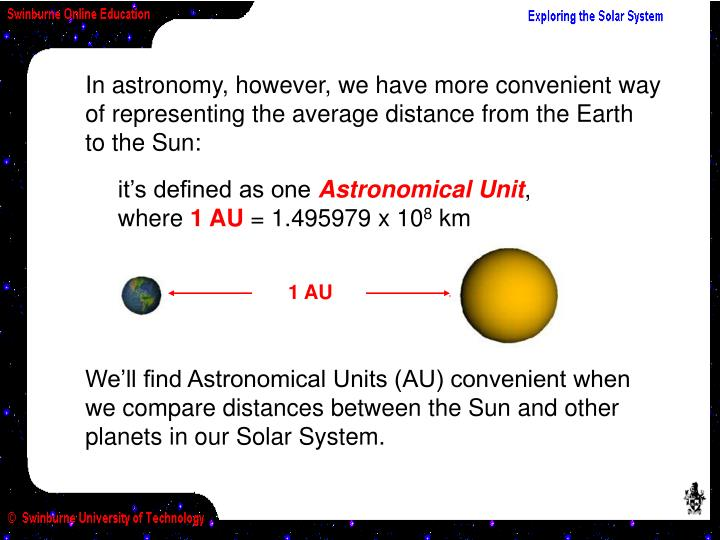 In astronomy, however, we have more convenient way of representing the average distance from the Earth