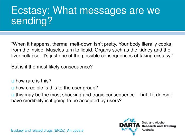 Ecstasy: What messages are we sending?