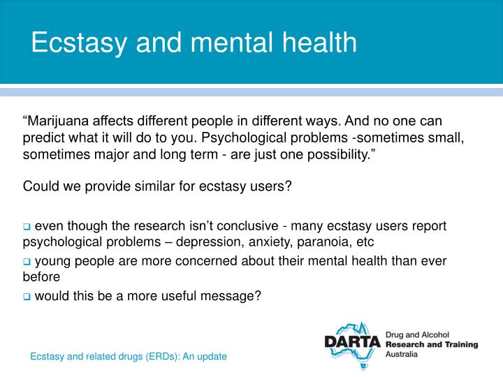 Ecstasy and mental health