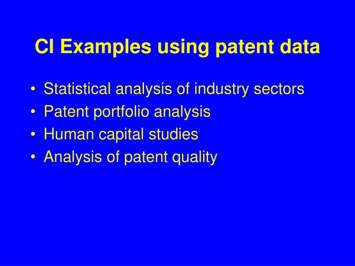 CI Examples using patent data