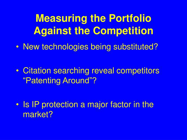 Measuring the Portfolio Against the Competition