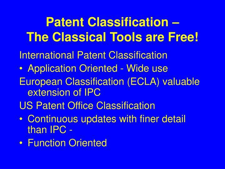 Patent Classification –