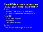 patent data issues inconsistent language spelling classification