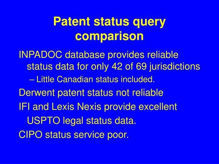 Patent status query comparison