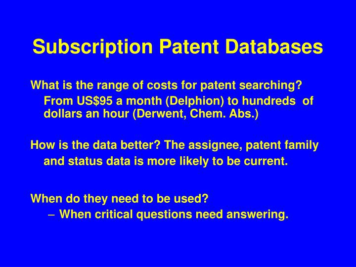 Subscription Patent Databases