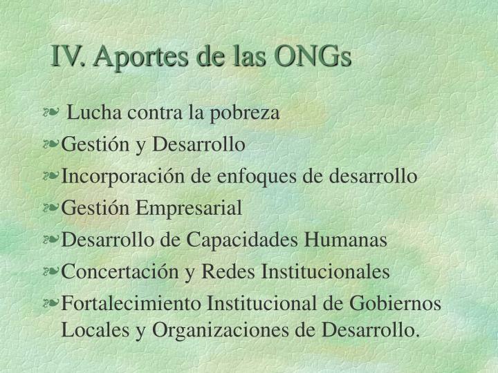 IV. Aportes de las ONGs