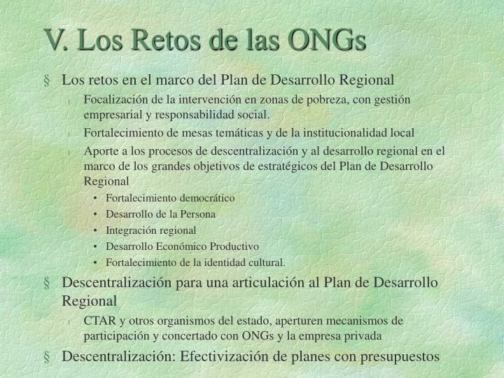 V. Los Retos de las ONGs