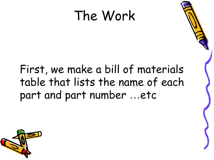 First, we make a bill of materials table that lists the name of each part and part number