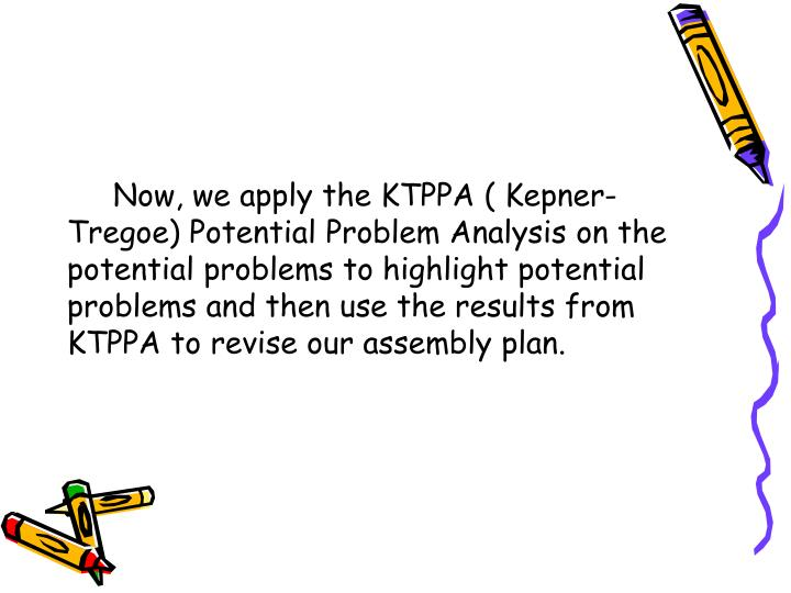Now, we apply the KTPPA ( Kepner-Tregoe) Potential Problem Analysis on the potential problems to highlight potential problems and then use the results from KTPPA to revise our assembly plan.